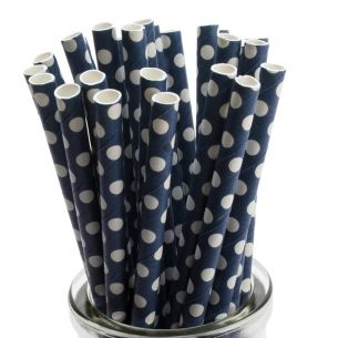 white polka dot on blue paper straws