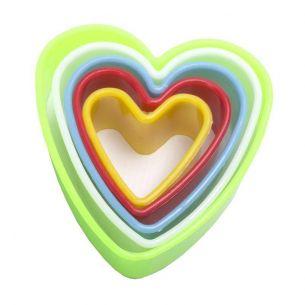 Multi Coloured Heart Fondant Cookie Cutter Set