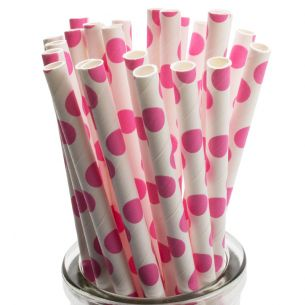 large pink polka dot straws