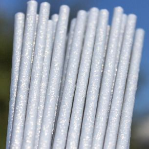 150mm X 4.5mm Silver Fairy Dust Glitter Plastic Lollipop Sticks x 3000