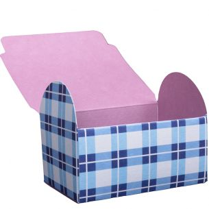 Paper Blue and White Chequered Gift Box x 4