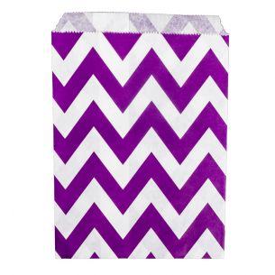Paper Sweet Bags x25 - Purple Chevron Pattern - flat