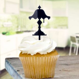 Black Lampshade Cupcake Toppers x8