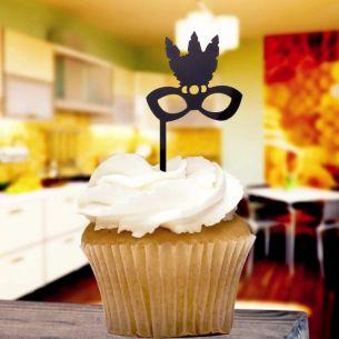 Black Masquerade Ball Cupcake Toppers x8