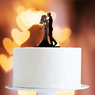 Black Kissing Couple Cake Topper x1