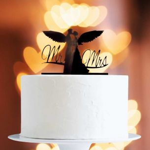 Black Angel Wing Couple Cake Topper x1