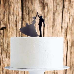 Black High Five Couple Cake Topper x1