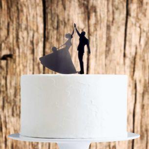 Black High Five Couple Cake Topper x1