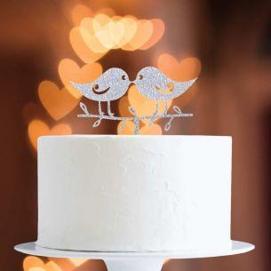 Silver Glitter Lovebirds Cake Topper x1