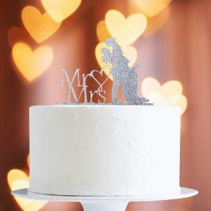Silver Glitter Bride/Groom Mr&Mrs Heart Cake Topper x1
