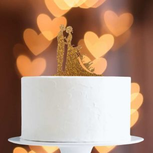 Gold Glitter Mr/Mrs On Dress Cake Topper x1