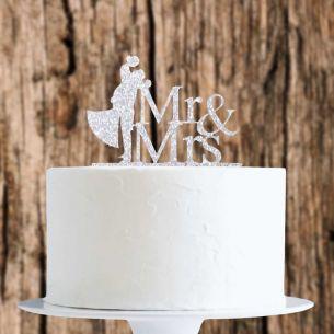 Silver Glitter Bride/Groom Mr&Mrs Cake Topper x1