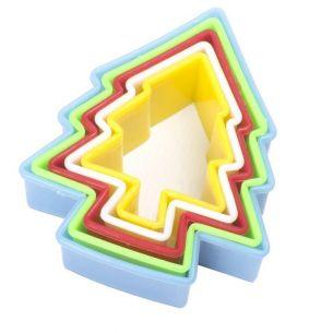 Multi Coloured Xmas Tree Fondant Cookie Cutter Set