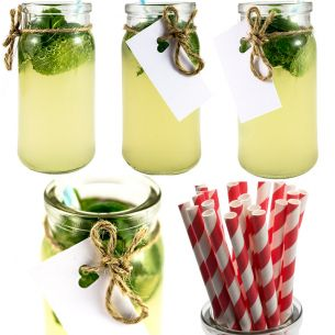 Drinking Jar Glass Jars - Cocktail Jar x12 Red Stripe