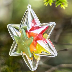 fillable clear bauble decoration star six points filled with jelly sweets