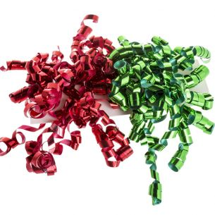 Curly Bows x2 (Red and Green)