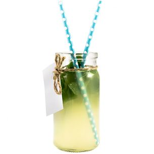 Glass Cocktail Jar Kit - Twine Labels Tags Paper Straws