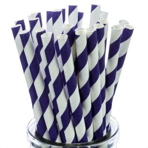 Purple Striped Paper Straws x25