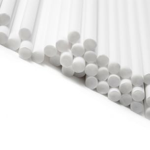 White Plastic Lollipop Sticks in Retail Packets