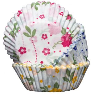 Cupcake Cases Floral Yellow, Blue and Pink x60