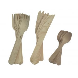 24 Piece Wooden Cutlery Set