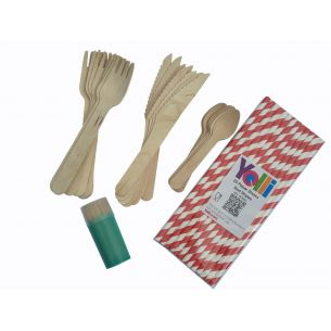 24 Piece wooden cutlery set, paper straws and coctail sticks