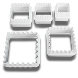 5 Reversible Square Frill / Smooth Cookie / Fondant Cutters