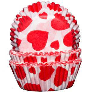 Valentines Cupcake Cases x60 White with Red Hearts