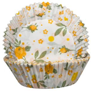 Floral Yellow Cupcake Cases x60