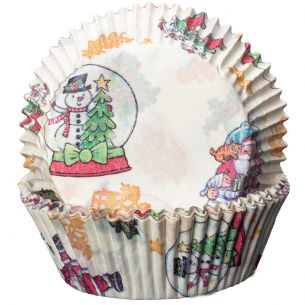 Cupcake Cases x60 Cream with Snowglobes and Santa