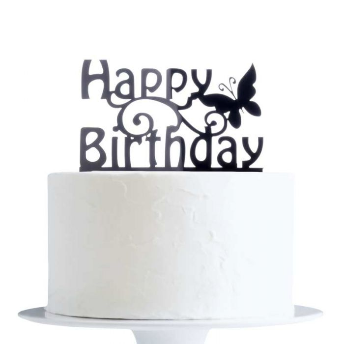 Incredible Happy Birthday With Butterfly Cake Topper X1 Funny Birthday Cards Online Hetedamsfinfo
