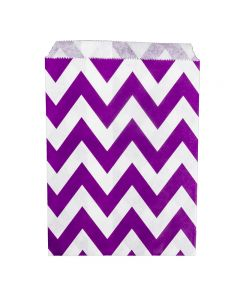 Paper Sweet Bags x25 - Purple Chevron Pattern - flat